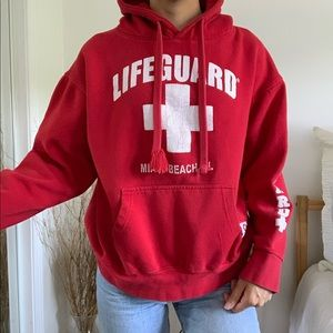 Tops - Lifeguard Miami Beached Red Hoodie